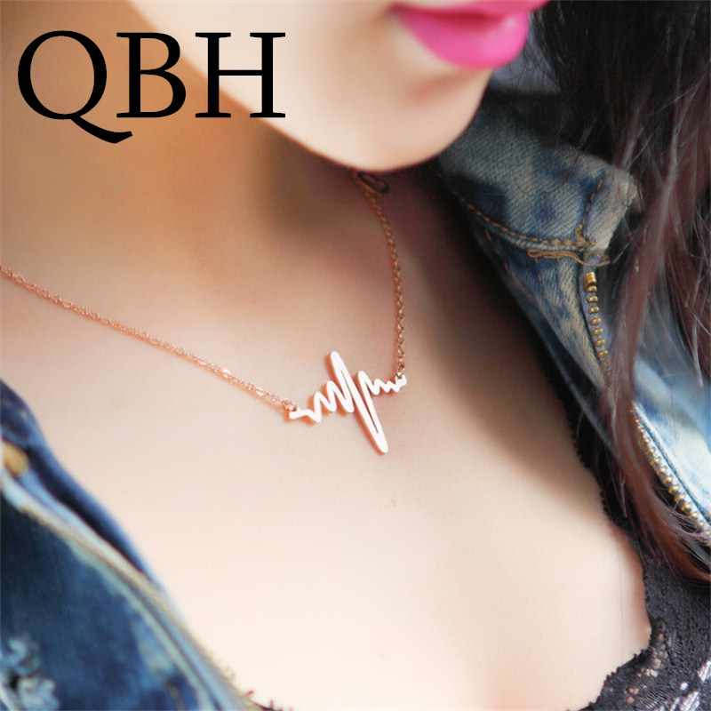 NK681 ECG Heart Clavicle Necklace Chain Dainty Collares Minimalist Heartbeat Pendants Collier Women Wedding Jewelry Girl Gift