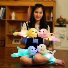 Plush dog doll with colorful LED light