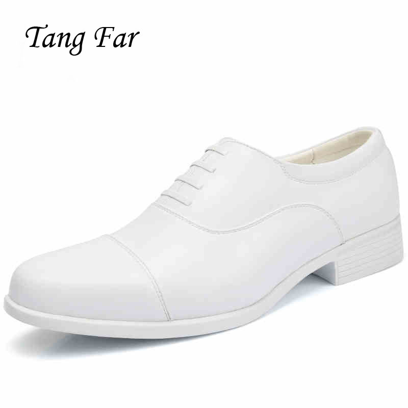 Big Size Performance White Leather Shoes Men Three Joint Military Shoe Mens Wedding Shoes Solid Oxfords Wear-Resistant