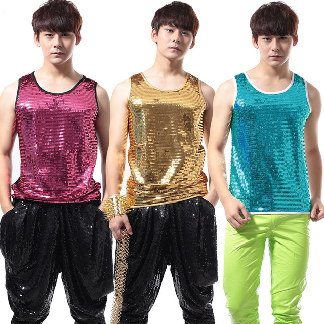Men's Fashion Top Sequins Vests Clothing Punk Style Clothes Paillette Male Ds Vest Male Singer Stage Wear Performance Costume