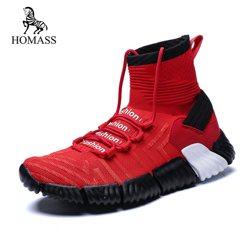 Homass Panier Respirant Grande Tenis À Chaussette Masculino Casual Chaussures 46 Taille Mâle Lacets Sneakers Black white red Adulto Nouvelle Hommes 7q6wrP7p
