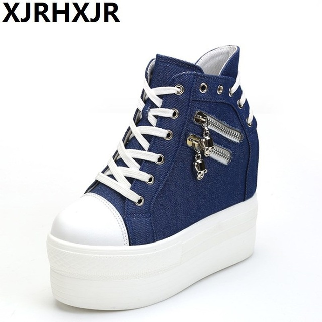 Wedges Canvas Shoes Woman Platform High Top Shoes Hidden Heel Height  Increasing Casual Shoes Female White Black Blue 3c14e20f5cfd