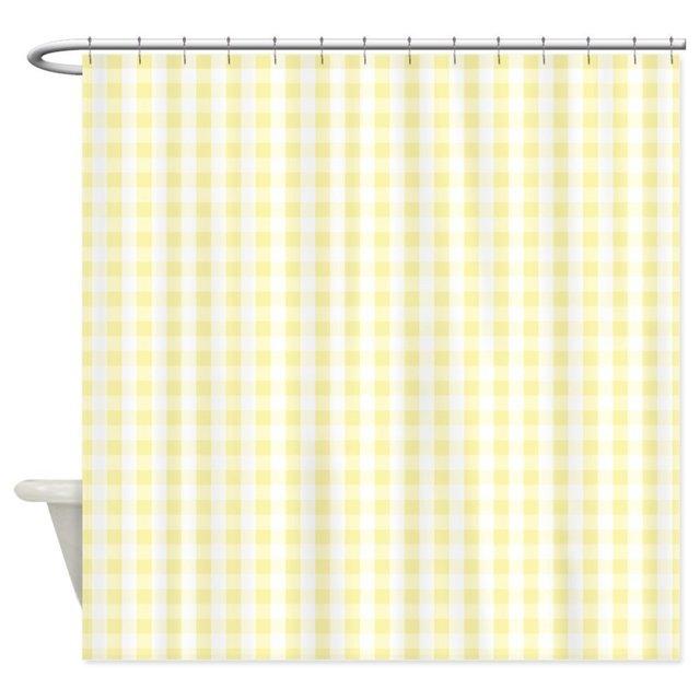 Light Pastel Yellow White Gingham Pattern Shower C Decorative Fabric Curtain Set Bath Mat