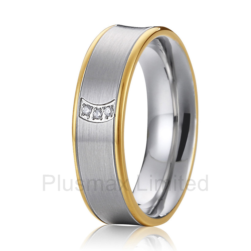 Bijoux personnalisés en gros magasin couleur or titane anneaux de mariage pour les femmes