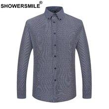 e98f6519f5 CHUVEIROS Mais Homens Tamanho Da Camisa de Algodão Cinza Smart Casual Camisa  Masculina Camisa Xadrez de