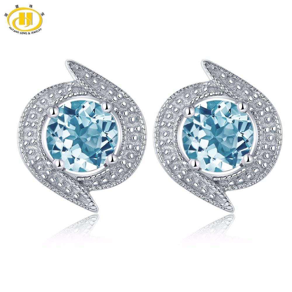 Hutang New Design Real Blue Topaz Stud Earrings Solid 925 Sterling Silver Gemstone Fine Jewelry Women's Accessories Earrings planet design gemstone stud earrings