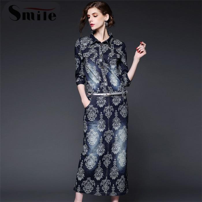 Aliexpress.com : Buy Women Long Flower Denim Dress with Belt ...