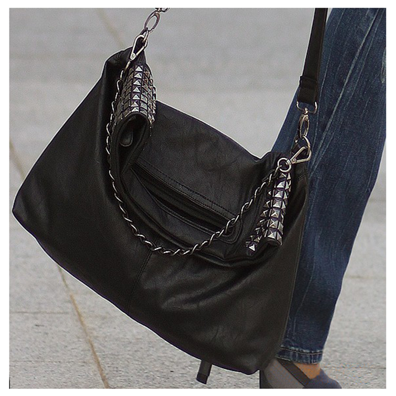 8 Pcs of (VSEN Hot Women's Korean Faux Leather Rivet Chain Foldable Shoulder Handbag Cross body Bag) vsen hot styleluggage bag replacement plastic 1 side rectangle buckle 10 pcs