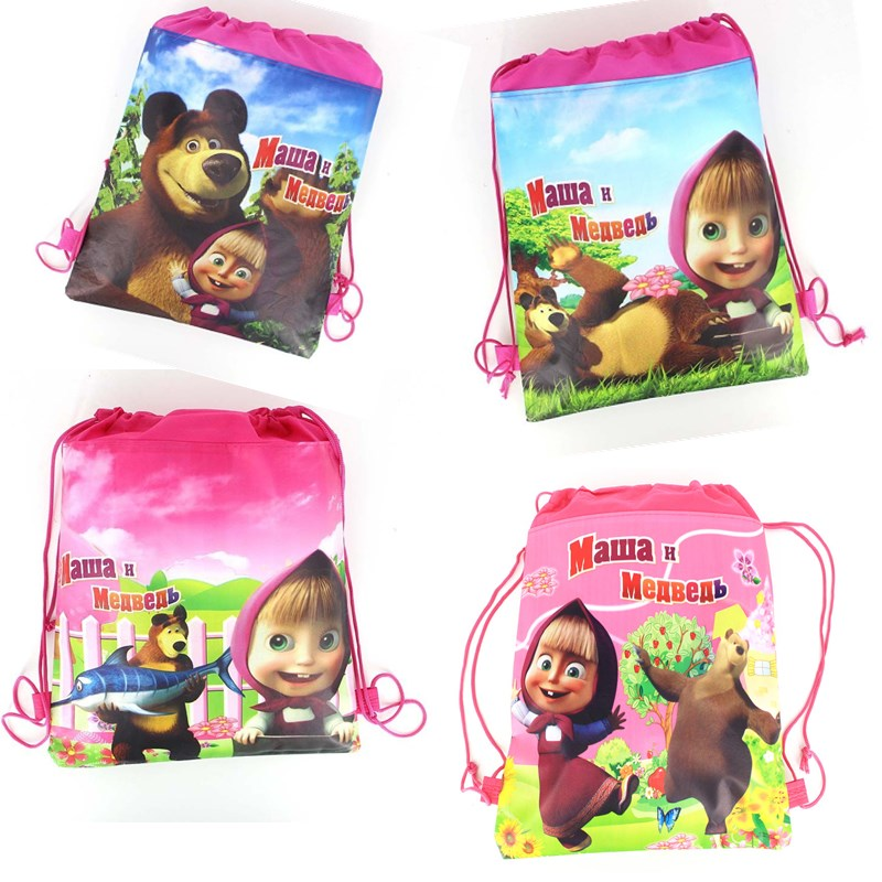 1PCS Masha And Bear Drawstring Bag For Girls Travel Storage Package Cartoon School Backpacks Children Birthday Party Favors