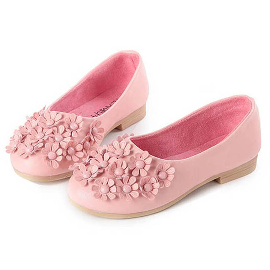 Autumn Kids Girls Ballerina Dancing Shoes Fancy Flowers ...