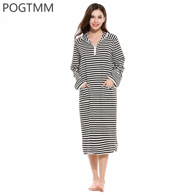 POGTMM Women Cotton Sleepwear Hooded Long Sleeve Striped Long Dressing Gown Female Lounge Sexy Nightgown Home Wear Clothing L3