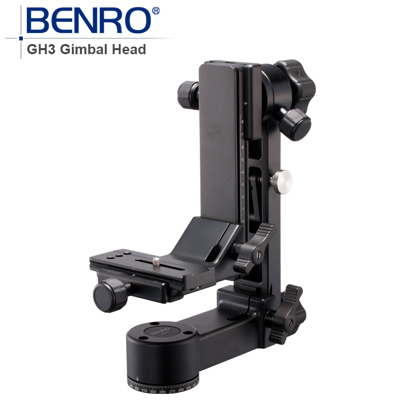 Benro Professional GH3 Gimbal Head GH3 Aluminum Gimbal Heads For Heavy Telephoto Lenses Camera Tripod Max Loading 25kg benro pc0 head professional panoramas heads for camera magnesium alloy panhead panoramas clamp max loading 5kg dhl free shipping