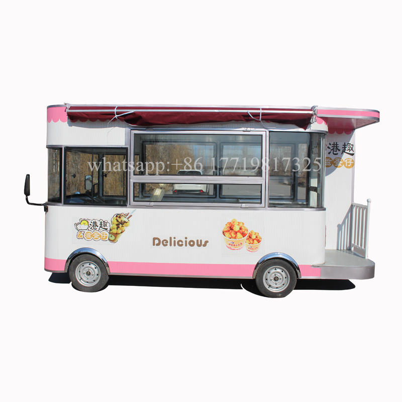 Pink Color Electric Food Kiosk Cart Mobile Street Food Cart Trailer For Sale