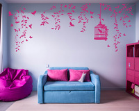 Hanging Vines with Flowers with Birdcage Wall Sticker Hang Vine Wall Decal for Living Room Bedroom 815T