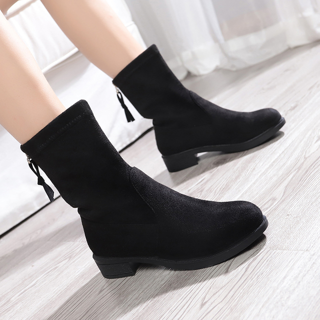 7679697ff07 Women Boots 2019 New Square Heel Platforms Low Pump Boots Shoes Woman Botas  Suede Leather Mujer Female Autumn Winter Ankle Boots