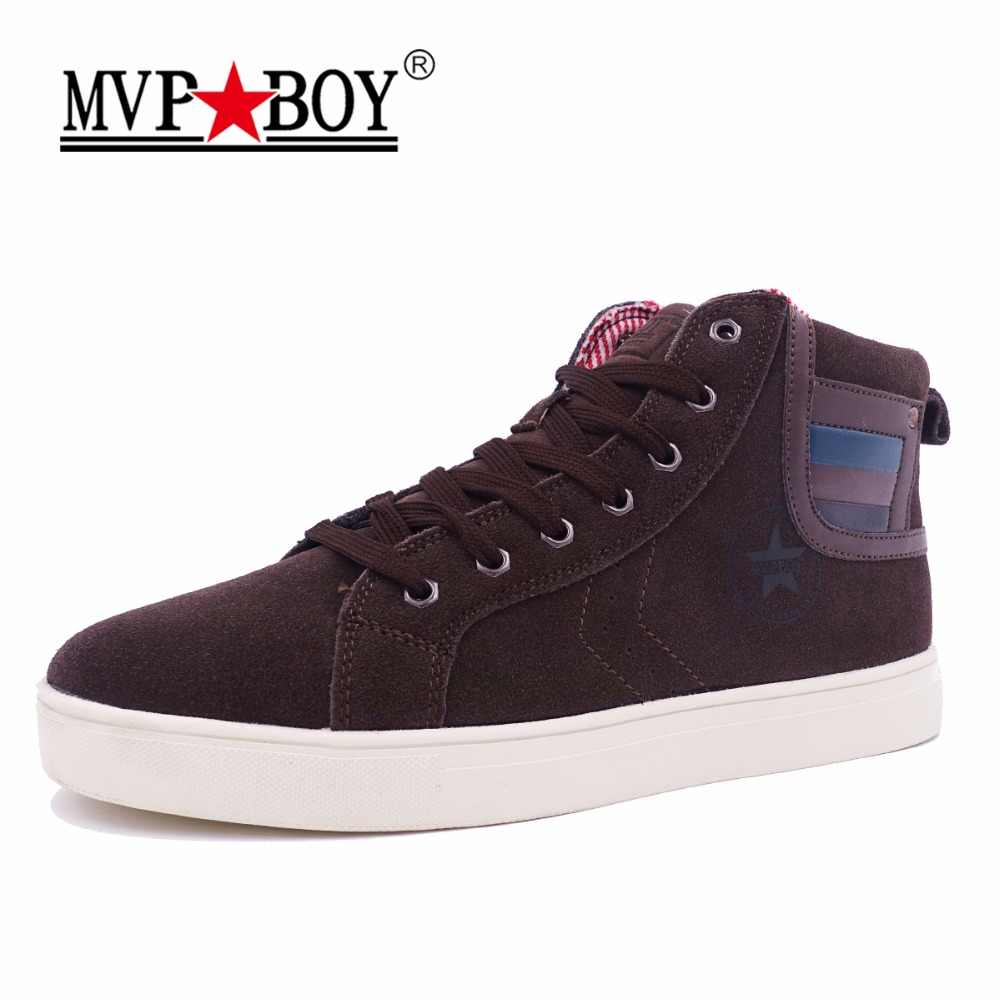 MVP BOY Brand Men Casual Shoes Autumn New Waterproof Fashion High top Suede Leather Shoes Men 2017 Spring High Quality Shoes Men 2017 spring brand new fashion pu stretch fabric men casual shoes high quality men casual shoes lace up casual shoes men 1709