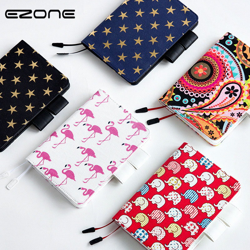 EZONE Cloth+PU Cover Notebook Cute Animals Kawaii Book Notepad Creative Diary Book Colored Hand-painted School Planner Agenda a6 cute spiral notebook notepad pu leather colored flamingo sakura planner kawaii diary book school office supply papelari