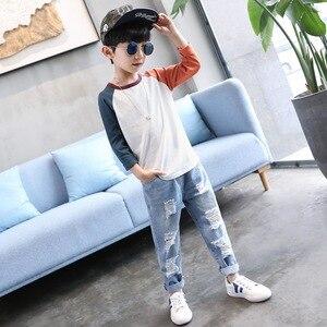 Image 3 - Çocuk erkek kot çocuk yırtık Jean pantolon ilkbahar sonbahar erkek rahat katı kırık delik denim pantolon için genç çocuklar 4Y 14Y