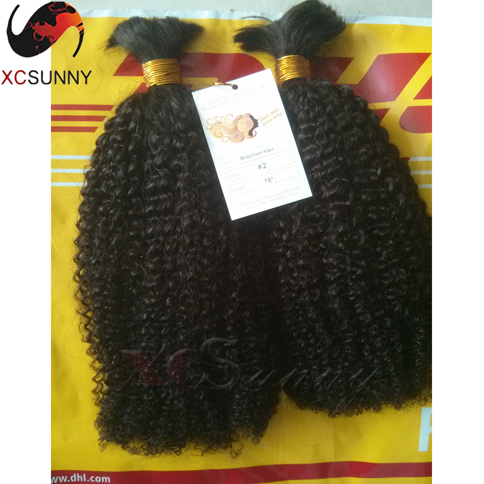 Factory Supply Unprocessed Virgin Brazilian Human Kinky Curly Bulk Hair for Braiding 2Pieces/lot 200G/packs Natural Virgin Color