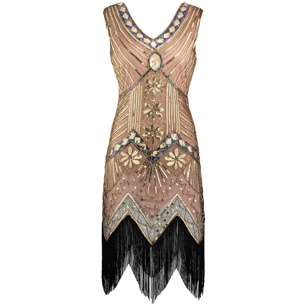 951515f7b8d Vintage 1920s Great Gatsby Dress Art Deco Beaded Sequin Party Dress Women  V-Neck Sleeveless Fringed Flapper Dress free shipping worldwide