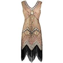 92e82726 Vintage 1920s Great Gatsby Dress Art Deco Beaded Sequin Party Dress Women  V-Neck Sleeveless Fringed Flapper Dress