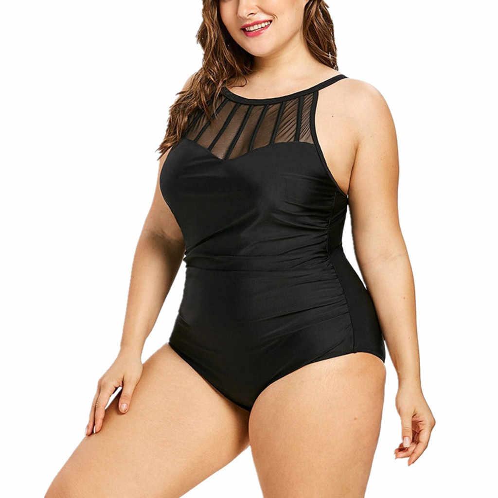 2019 nouveau été femmes mode solide grande taille une pièce maillots de Bain Bikin maillots de Bain maillots de Bain Monokini Maillot de Bain Femme