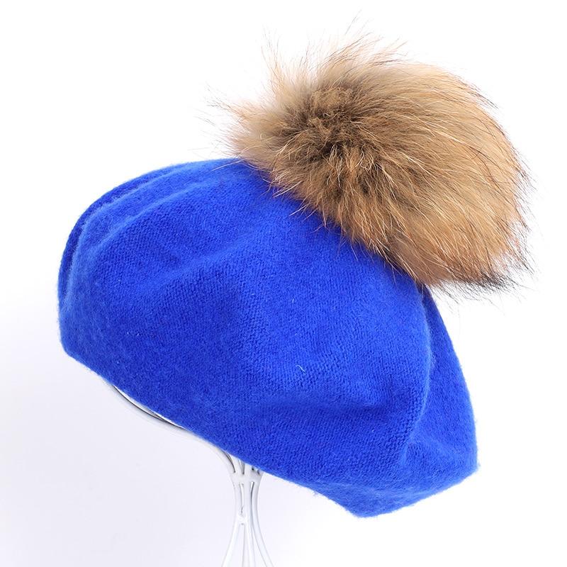 Берет художника, уличные шапки художника, осень и зима, новые теплые вязаные однотонные кепки, модный мех енота, помпон, берет в стиле винтаж - Цвет: Blue