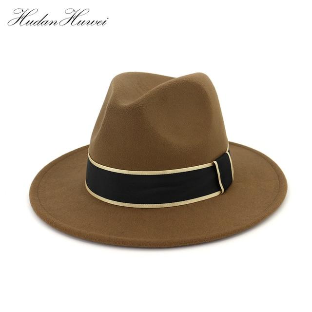 Unisex Panamá fieltro de lana sombreros Fedora con decoración de la cinta  moda ala plana Jazz 1cb5969eac6