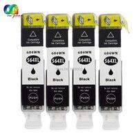 4PK New GEN Chip 564 564XL Black Ink Cartridge Chip Compatible For HP Officejet 4620 Deskjet