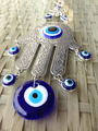 Fatima Hamsa Hand Turkish Blue Evil Eye Metal Ornament Protector Lucky Eye Glass Charm Pendant Home Amulet Kabbalah Jewish Decor