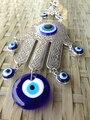Fatima Mão Hamsa Turco Azul Evil Eye Ornamento de Metal Protetor de Olho Sorte Judaica Kabbalah Amuleto Pendente do Encanto de Vidro Casa Decoração