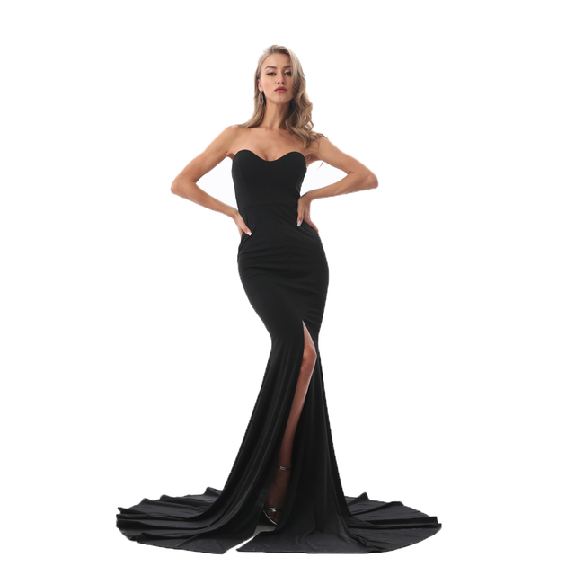 Kisscc Sexy Strapless Red Maxi Dress Split Front Long Floor Length Trumpet Mermaid Dress Sleeveless Elegant Party Dress