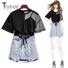 Trytree летний женский комплект из двух предметов, повседневный топ с дырочками+ юбка, джинсовый мини-костюм на пуговицах с карманами и ленточным поясом, комплект из 2 предметов
