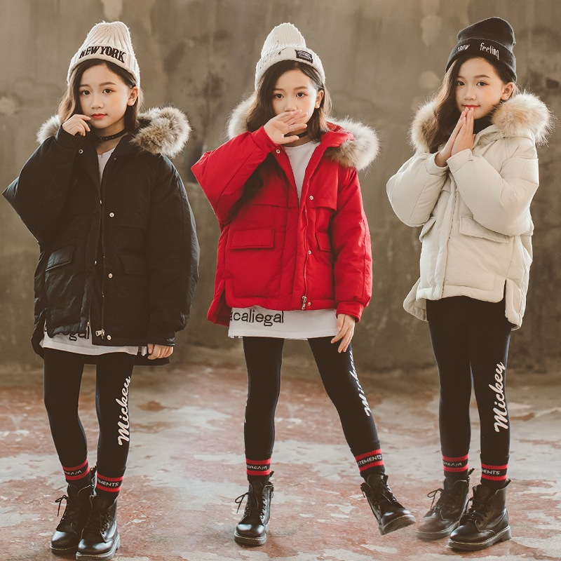 Girls Down Coats Girl Winter Clothes 2018 New Fashion Long Sleeve Fur Collar Cotton Padded Warm Thicken Children Parkas 8 10 12 цена