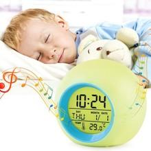 LED Circular Europe Colored Changing Snooze Desktop Table Alarm Clocks Electronic Desk Digital Home Decor TQ
