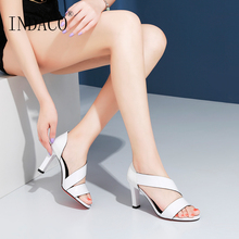 Sandals Women Leather Summer Shoes High Heels White Black 8cm