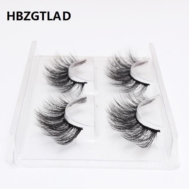 d43618195cb HBZGTLAD 2 pairs natural false eyelashes fake lashes long makeup 3d mink  eyelashes eyelash extension mink