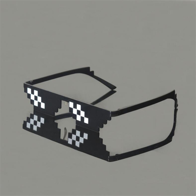 HTB1ddEdXEtWMKJjy0Faq6ACDpXay - 2018 New Deal with it Glasses Thug Life Glasses Pixel Women Men Sunglasses Black Mosaic Sun Glasses