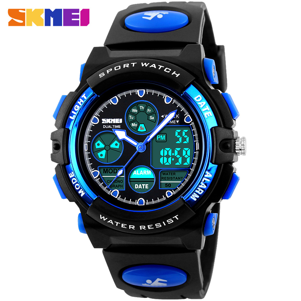 SKMEI Children LED Display Digital Watch 50M Waterproof Kids Sports Watches Multifunction Electronic boys Students Wristwatches skmei kids sports watches children for girls boys waterproof military dual display wristwatches led waterproof watch 1163