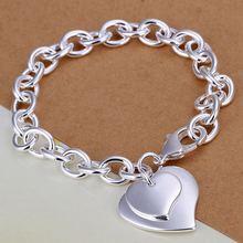 a354798f9a2b Estilo de verano fina 925 pulsera de plata esterlina 925-Sterling-Silver  joyería 2 corazón cadena pulseras para hombres mujeres .
