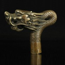 100% bronze sculptures,brass,Chinese Hand Carved Bronze Dragon sculptures,crutches,snake heads walking sticks Free shipping(China)