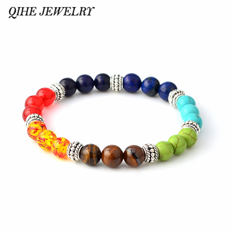 QIHE JEWELRY Multicolor 7 Chakra Healing Balance Beads Bracelet Yoga Life Energy Natural Stone Bracelet Women Men Casual Jewelry