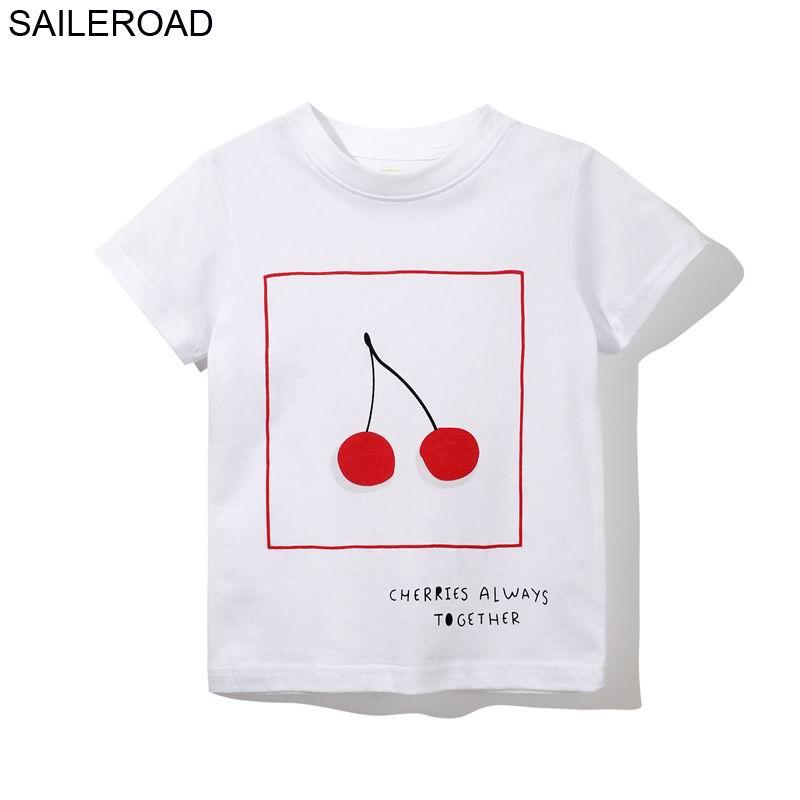 SAILEROAD Cherry Pattern Girls Tees Shirts Summer Children's t shirt for  Girls Short Sleeve Cotton T shirt for Girls Clothes|T-Shirts| - AliExpress