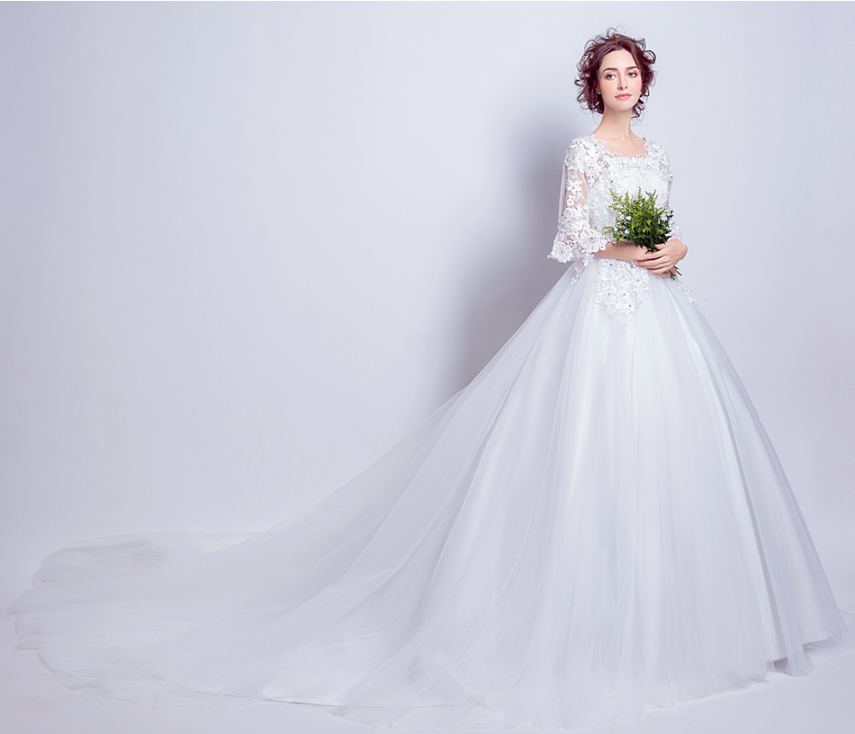 Angel Wedding Dress Marriage Bride Bridal Gown Vestido De Noiva 2017 Boat Neck horn sleeve, big tail 6910 1