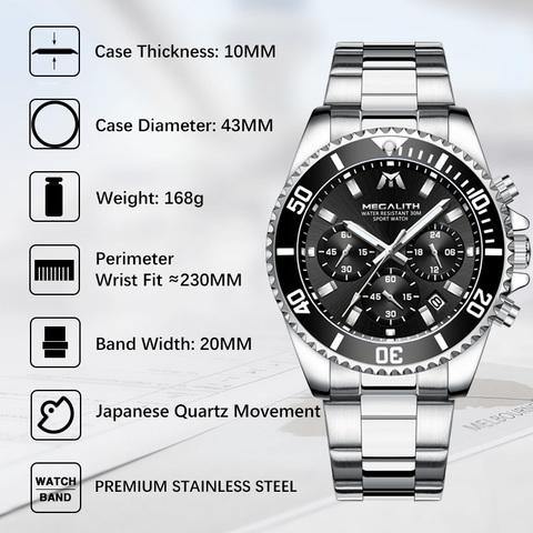 MEGALITH Fashion Mens Watches Top Brand Luxury Chronograph Waterproof Colck Men Watch Gents Reloj Hombre 2018 Sport Wrist Watch Multan