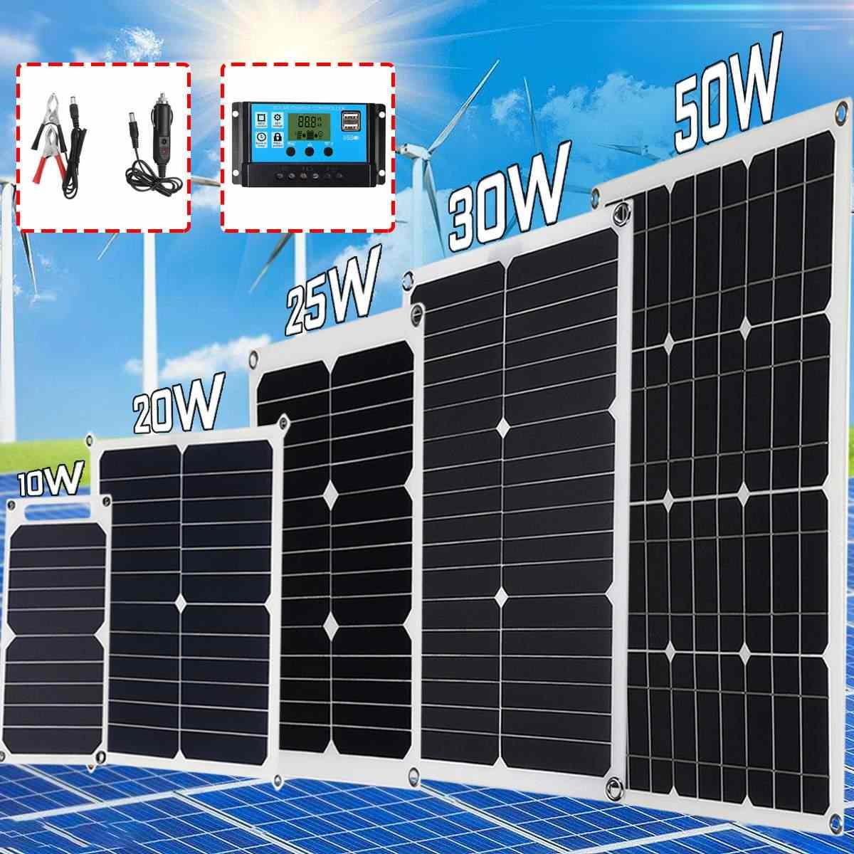 10 Вт, 20 Вт, 30 Вт, 50 Вт, 5 В, 12 В, 18 в, солнечная панель, солнечные элементы, поли солнечная панель, контроллер батареи для дома на колесах, автомобилей, яхты, RV, лодки