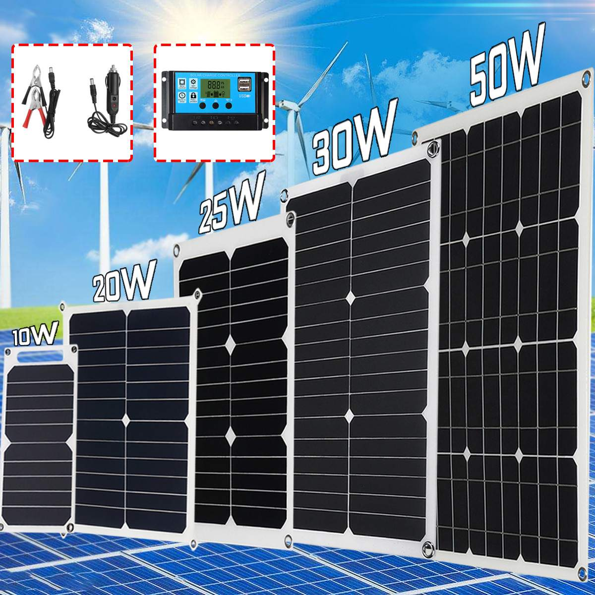 10W 20W 30W 50W 5V 12V 18V Solar Panel Solar Cells Waterproof Poly Solar Panel Battery Controller For Motorhome Car Yacht Boat