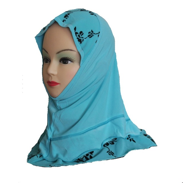 Girls Kids Muslim Hijab Islamic Arab Scarf Shawls Flower Pattern Simple Style