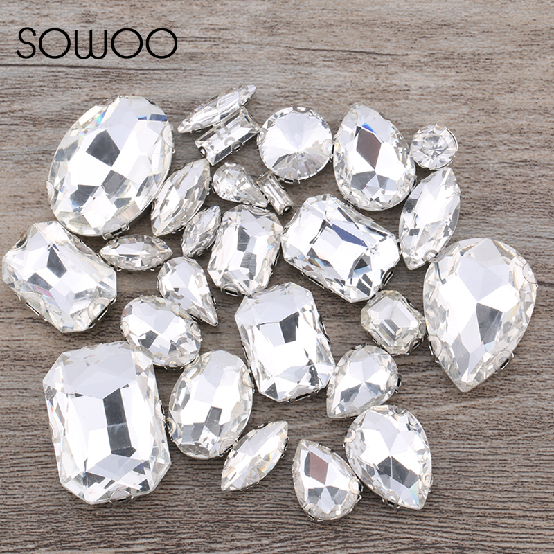 50pcs lot Crystal Clear Mixed Shapes Mixed Sizes Sew On Rhinestone with Claw  Glass Crystals Sewing Stone For Clothes Decoration-in Rhinestones from Home  ... 8a50533a7414
