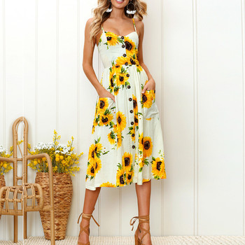 Sexy V Neck Boho Backless Summer Dresses